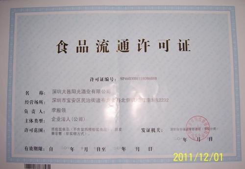 吉林卫生许可证和食品流通许可证